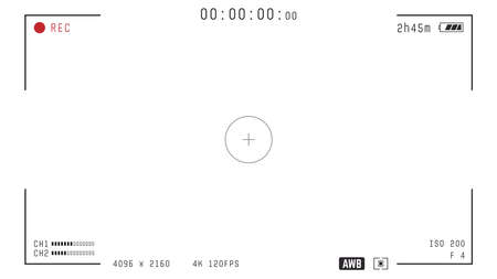 Video camera viewfinder overlay. 16:9 template. Full hd or 4k format with 120 fps. Camera frame vector template. Black lines and text, rec icon with information and timing on transparent background.