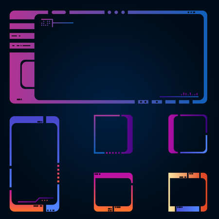 Set of frames for images or icons. Modern style gradient colors UI. Retro, 80s style future interface elements. Old sci-fi style panel screen elements. Space ship or futuristic device UI.