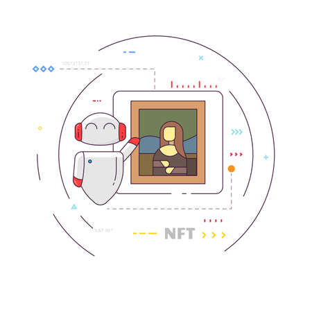 Smiling robot presenting digital art. Famous pictures NFT. Technology and art. Classic paintings and blockchain. Modern thin line style vector. Иллюстрация