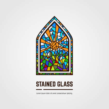Colorful stained glass window.  emblem or icon with text. Sun with rays and grass. Thick line style flat style linear vector. Architecture, religious or gallery. Bright stain glass color window.