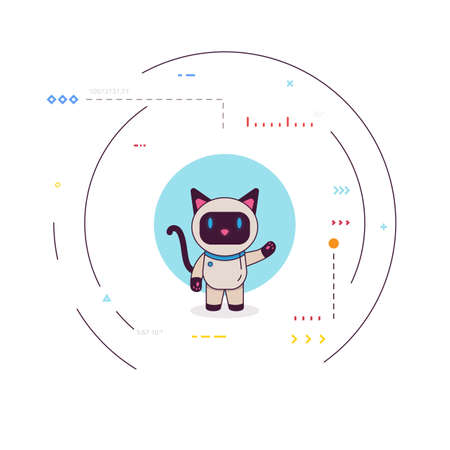 Smiling robot cat say hello. Happy bot presenting or greeting. Siamese robo cat with blue eyes, artificial intelligence concept. Simple robocat with circle and signs. Modern thin line style vector.