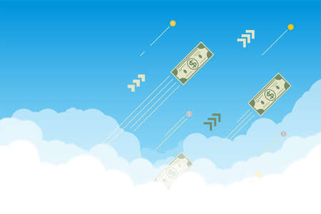 Financial banner with sky and clouds. Paper dollars and coins flying up through the clouds and going to the Moon. Investment progress, bull market and going up financial trend.