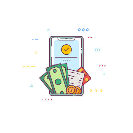 Wallet app on smartphone. Abstract line illustration. Mobile wallet account with dollars, coins and credit card. Crypto coins or other fiat currency app for exchange, savings and holdings.