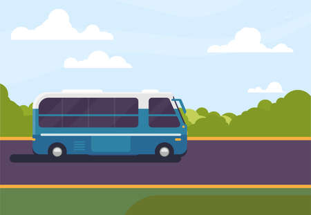 Touristic bus driving on freeway. Rural background, sky, clouds and trees. Bus travel concept. Big trip on the road. Cartoon style vector.