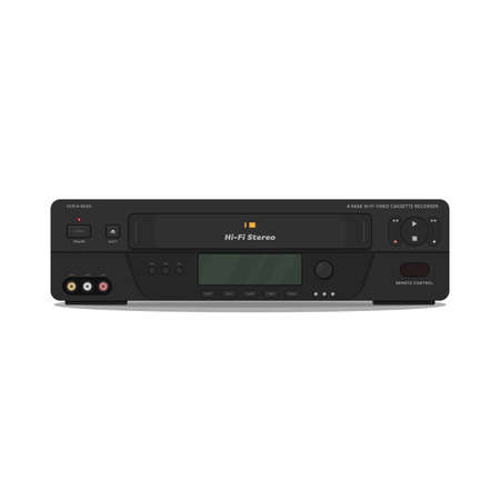 VCR with hi-fi video and high quality video. 90s videocassette player and recorder. Realistic vector video player image. VHS cassette black player.