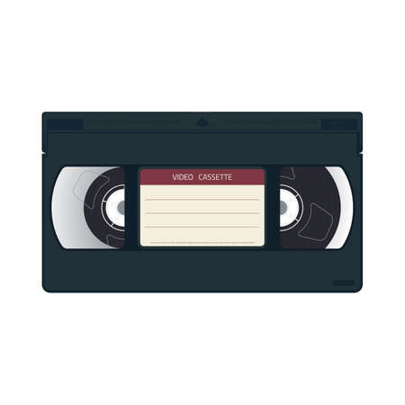 Retro style realistic video cassette front side with label. VHS cassette realistic case design. Film and movie from 90s concept. Cinema poster and template.