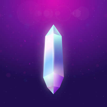 Crystal on dark gradient background. Shining crystal with edges and gradient. Gemstone vector illustration with gradient background. Variety of colors on diamond edges.