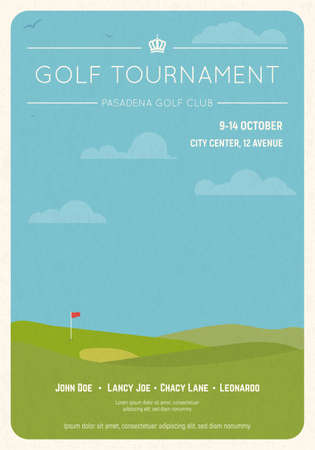 Retro style golf club invite. Blue sky and green golf field. Golfclub competition poster on textured paper. Championship or tournament text placeholder. Template for golf championship event.
