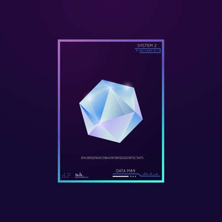 Diamond on dark background. Shining crystal with edges and gradient. Technology design interface with text and UI. Futuristic geometric polygon in shape of diamond or crystal. Иллюстрация