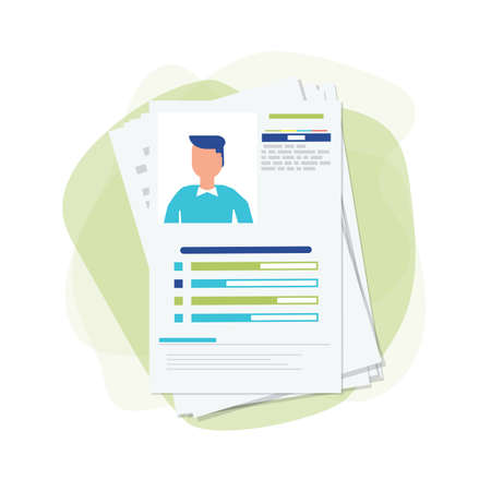 Curriculum vitae papers with personal info and picture. CV and selection of candidates concept. Recruitment, job interview. Hiring and employment. Job searching candidates. Иллюстрация