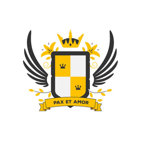 Classic coat of arms in modern vector two color style. Shield and wings with branches and leaf. Family insignia, heraldic elements and banner for motto. Emblem and ribbon with text.