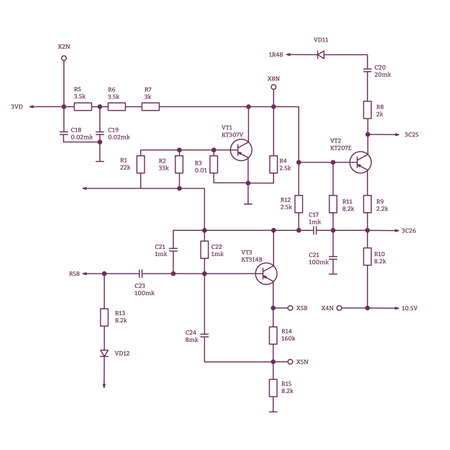 Electric scheme - wiring diagram with radio parts and connection. Text notation and realistic parts. Иллюстрация
