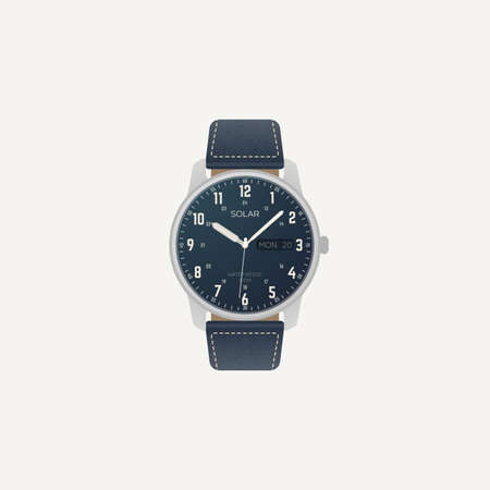 Classic field luxury wristwatch with day date complication. Mechanical, automatic or solar quartz wrist watch in stainless steel case and dark blue dial with 24 arabic hour numbers and leather strap. Иллюстрация