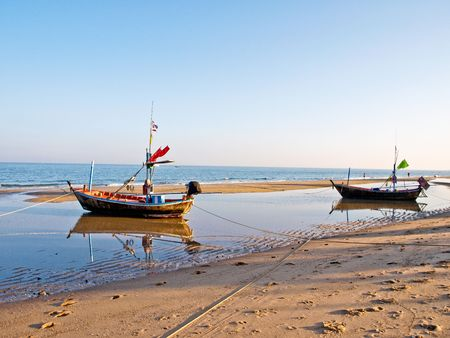 Sea of Thailand,boat at Cha-am beach