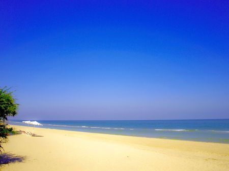 Sea of Thailand,Cha-am beach,Cha-am Stock Photo