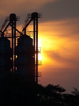 silhouette rice mill in Thailand