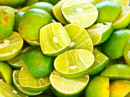 sun drenched: Freshly sliced Green lemon,herb and spicy ingredients for making Thai food