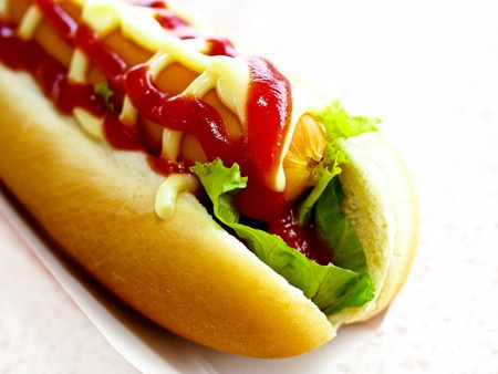 tasty hot dog isolated on white background photo