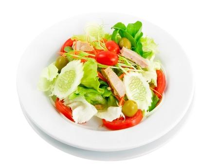 tasty Chicken salad isolated on white