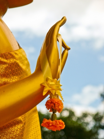hand of buddha statue,at temple of thailand Stock Photo