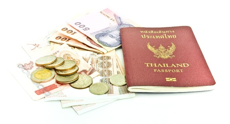 Thailand passport ,Thai  banknote and coin photo