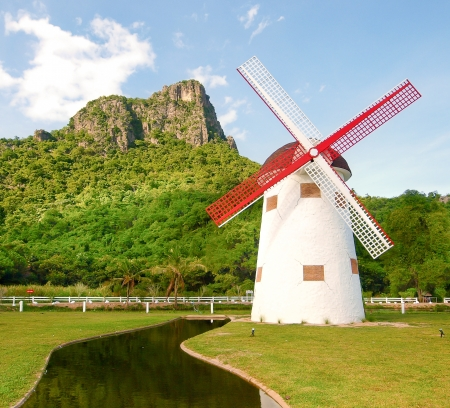 beautiful windmill landscape in Thailand photo