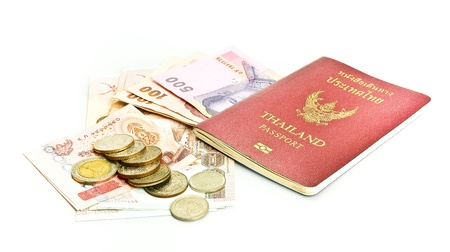 Thailand passport ,Thai  banknote and coin
