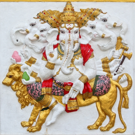 siddhivinayaka: ganesha statue , God Named Triaksara Ganapati at temple in thailand ;The conviction will be used hand to apply to the Lord for get the wishes  Stock Photo