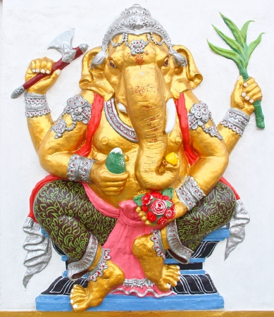 ganesha statue , God Named Triaksara Ganapati at temple in thailand ;The conviction will be used hand to apply to the Lord for get the wishes  Stock Photo - 18563173