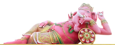 Pink ganesha statue , God Named Triaksara Ganapati at temple in thailand ;The conviction will be used hand to apply to the Lord for get the wishes