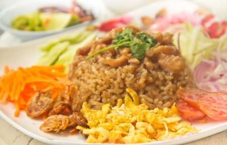 Spicy fried rice with shrimp , Thai style food Stock Photo