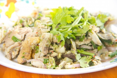 Thai dressed spicy salad with tuna, green herbs and Stock Photo - 18870884