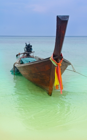 Tropical beach,traditional long tail boats at Phi-Phi island,Krabi,Thailand Stock Photo