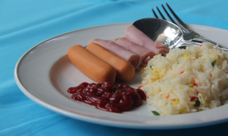 Fried rice and ham slice,Sausages, ketchup