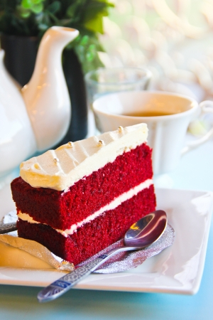 strawberry or raspberry cake and a cup of tea on table  Stock Photo