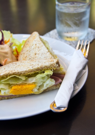 Club sandwich and salad Stock Photo
