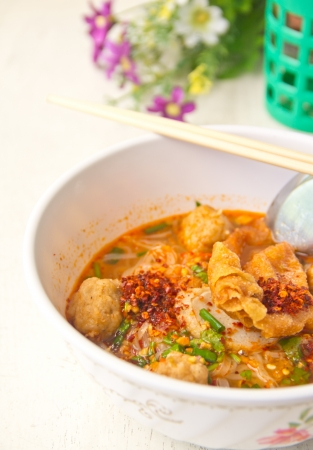 thai food ,Noodles Soup with Shrimp ball photo