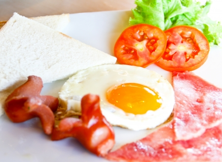 breakfast with bread,egg,ham and sausage