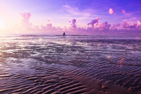 sea and sunrise background at Hua Hin beach Thailand Stock Photo
