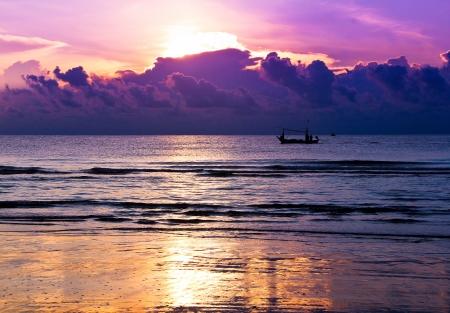 fishing boats at sea  sunrise background at Hua Hin Thailand Stock Photo