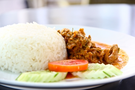 Dried red  coconut curry with pork  Panaeng    Delicious and famous Thailand food photo