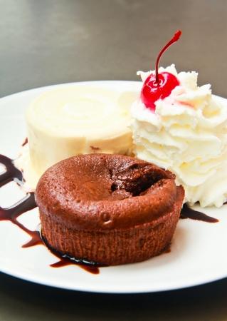 Chocolate lava cake served with ice cream