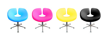 Modern chair in metal and multicolor fabric   cyan,magenta,yellow,black