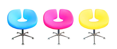Modern chair in metal and multicolor fabric   cyan,magenta,yellow