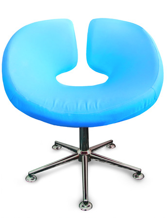 Modern chair in metal and cyan blue fabric Stock Photo