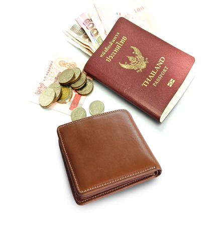 passport ,money and wallet Stock Photo