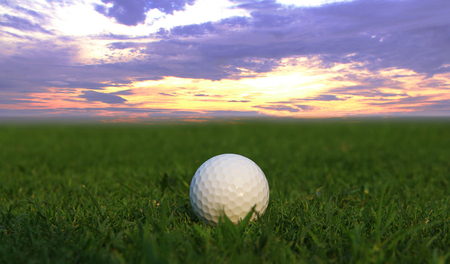 golf ball on green Stock Photo