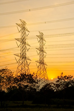 Electric high voltage power  pole Stock Photo