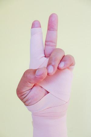 injury hand wrap with bandage