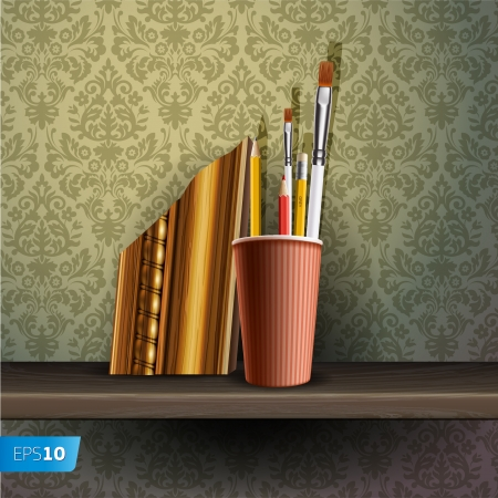 Different art brushes and pencils in flask on the shelf Stock Vector - 17054252